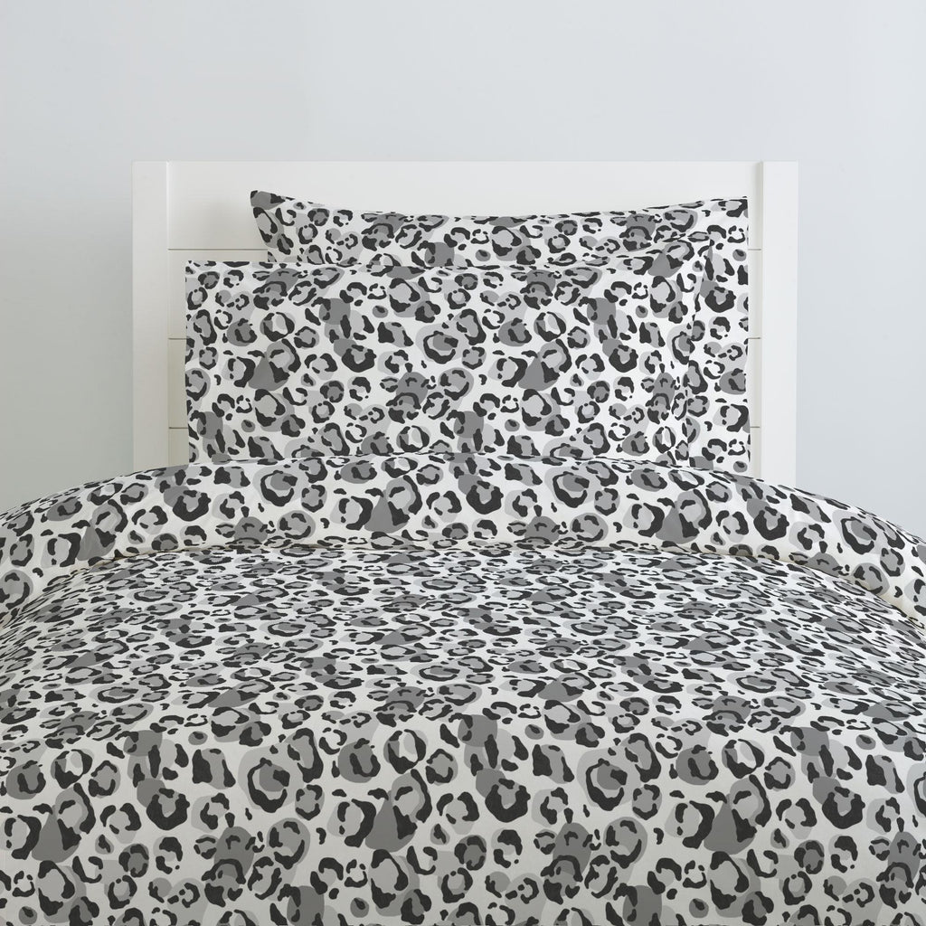 Product image for Gray Leopard Duvet Cover