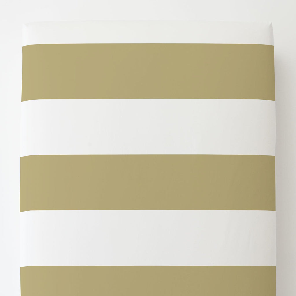 Product image for Tan Horizontal Stripe Toddler Sheet Bottom Fitted