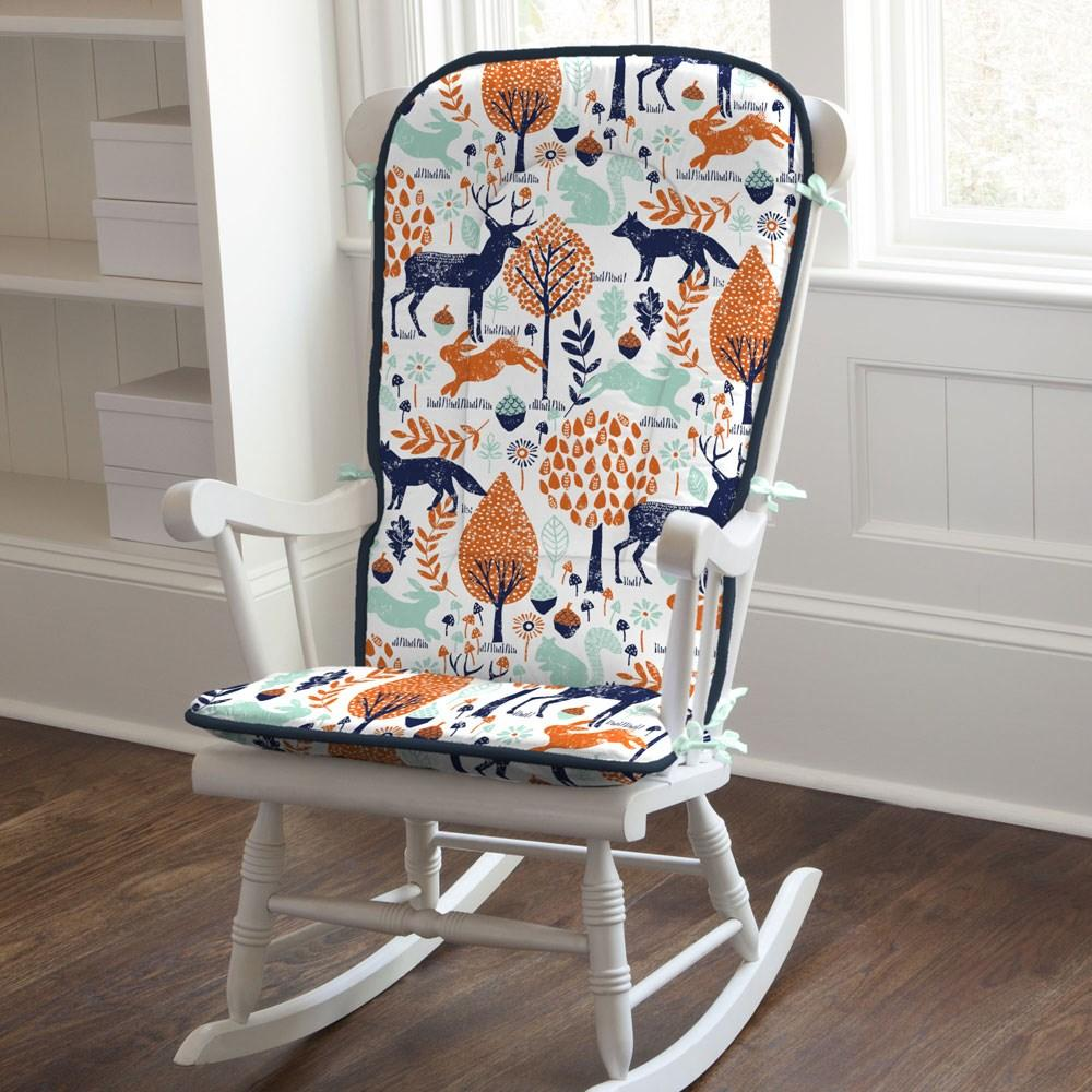 Product image for Navy and Orange Woodland Animals Rocking Chair Pad