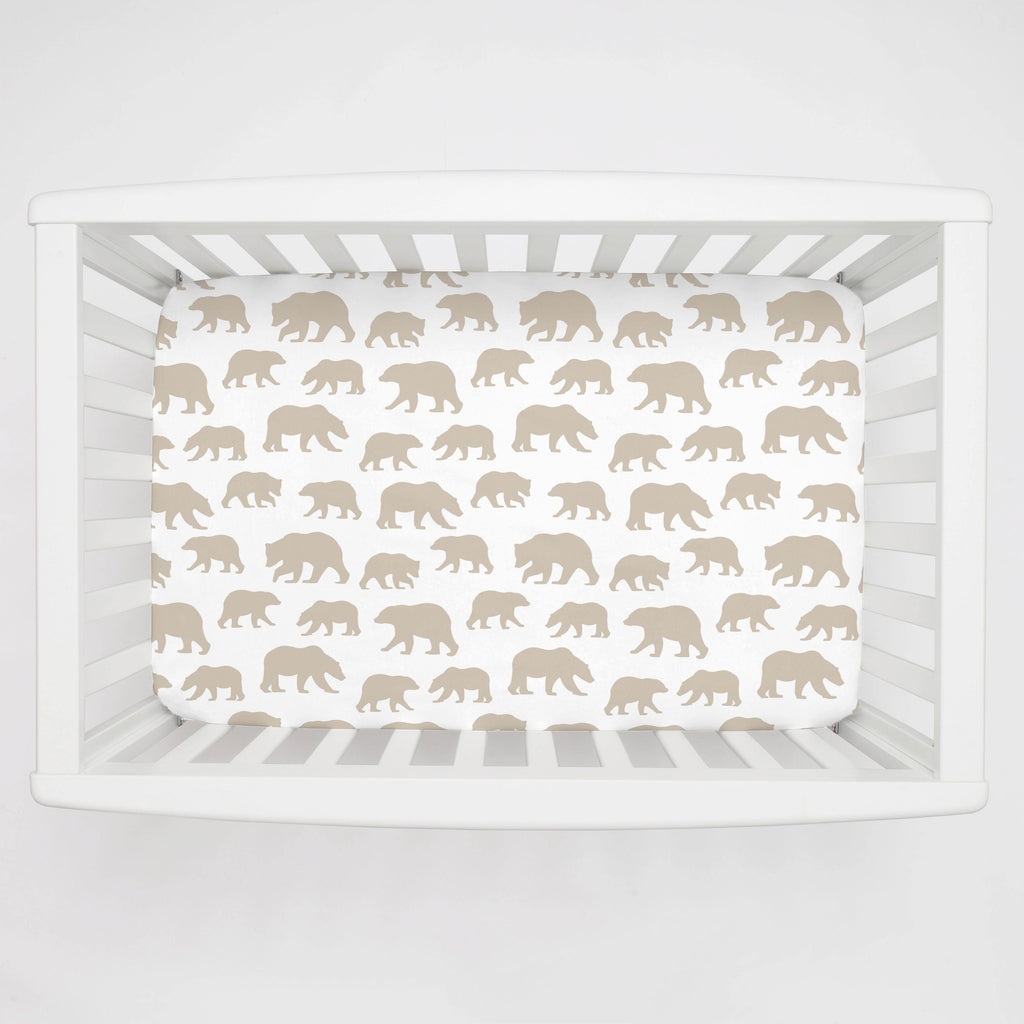Product image for Taupe Bears Mini Crib Sheet