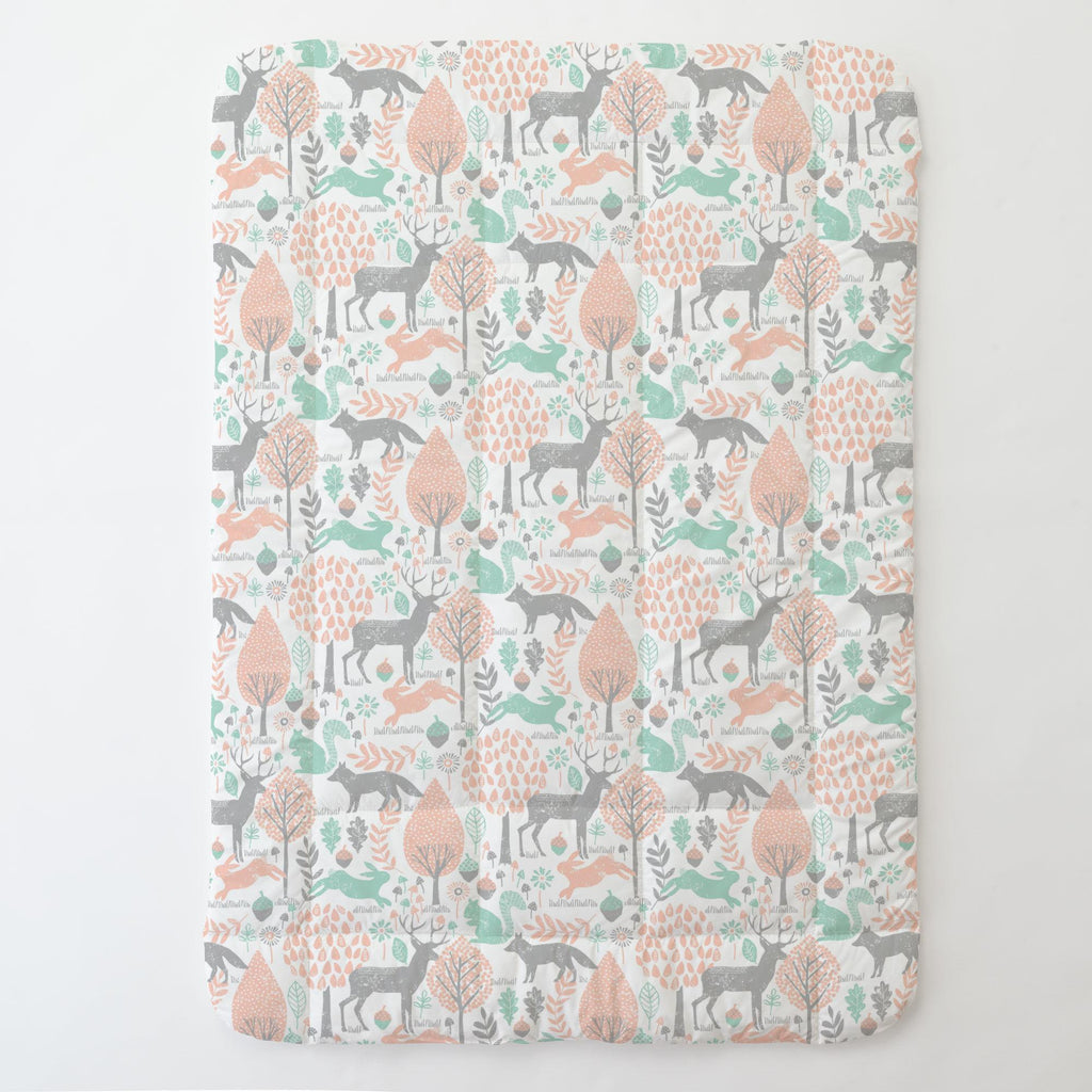 Product image for Gray and Peach Woodland Animals Toddler Comforter