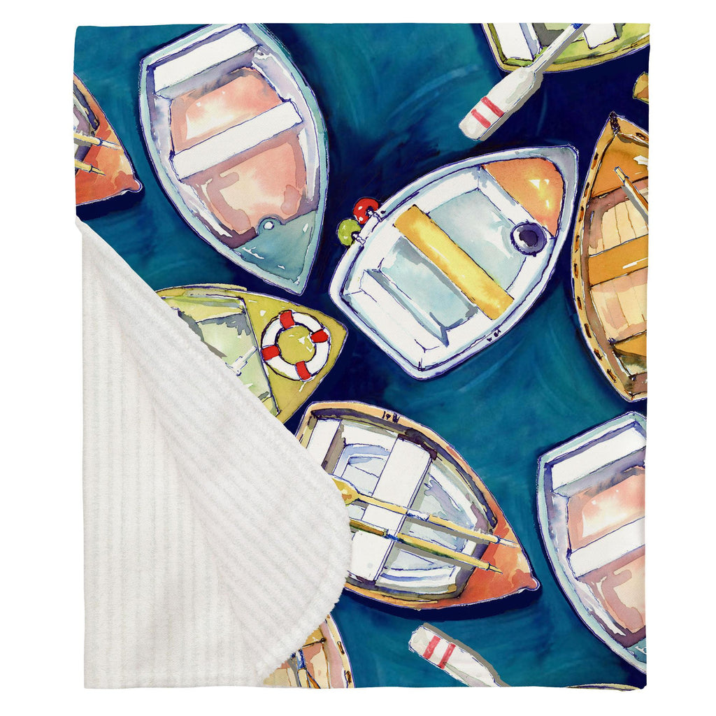 Product image for Blue Watercolor Boats Baby Blanket
