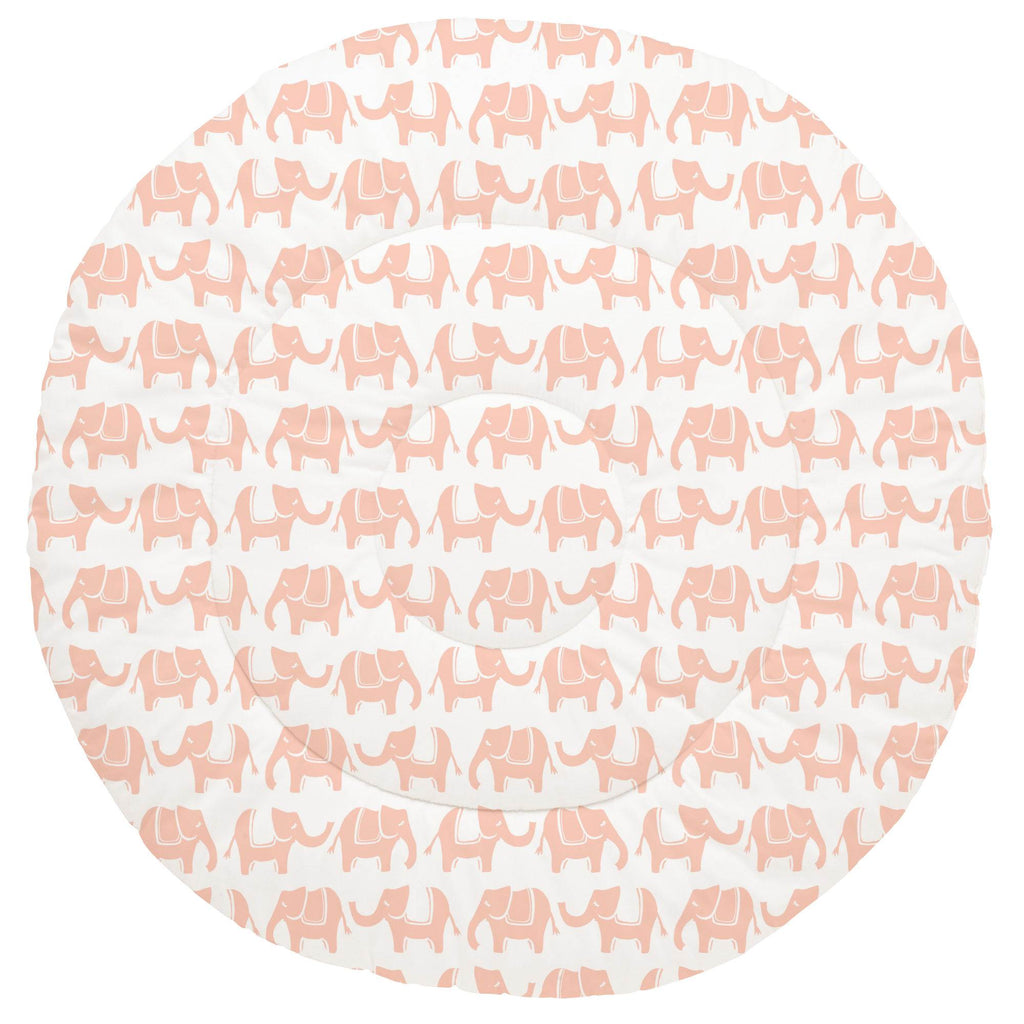 Product image for Peach Marching Elephants Baby Play Mat
