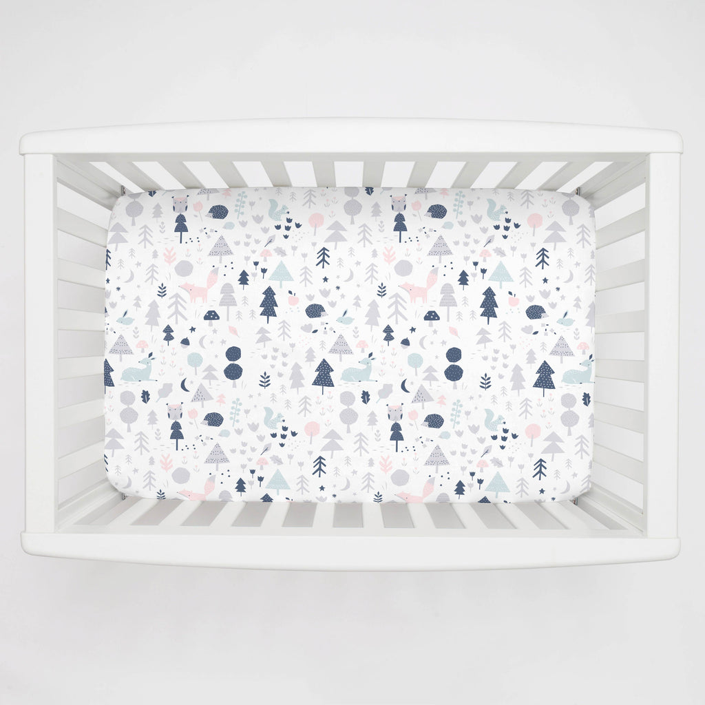 Product image for Gray and Pink Baby Woodland Mini Crib Sheet