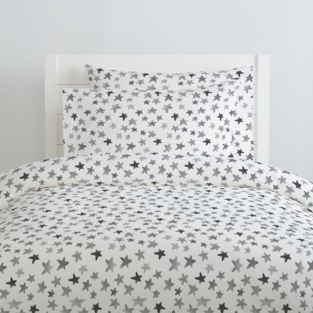 Product image for Gray Watercolor Stars Duvet Cover