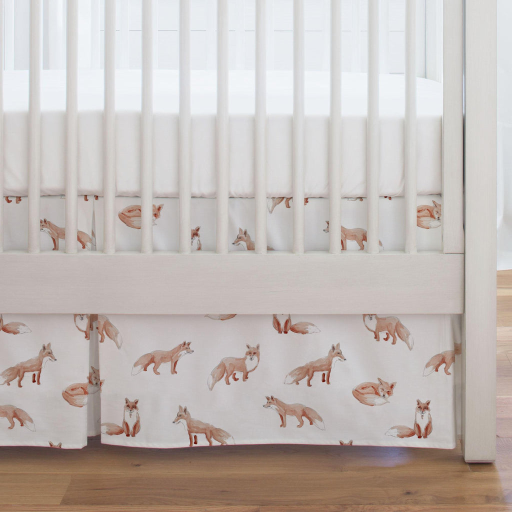 Product image for Watercolor Fox Crib Skirt Single-Pleat