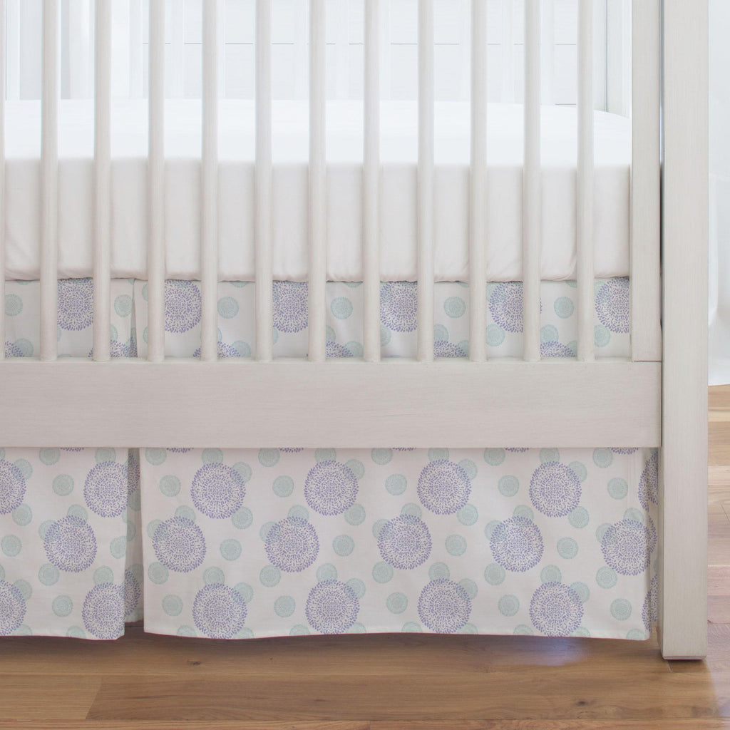Product image for Lilac and Mist Dandelion Crib Skirt Single-Pleat