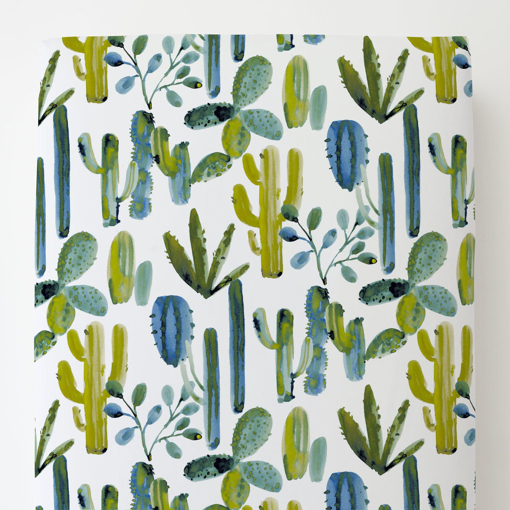 Product image for Blue Painted Cactus Toddler Sheet Bottom Fitted