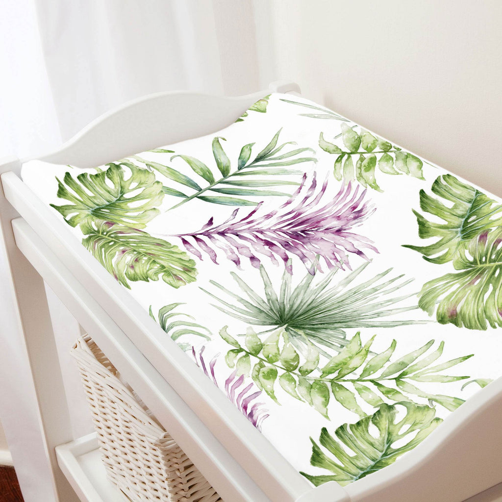 Product image for Purple Painted Tropical Changing Pad Cover
