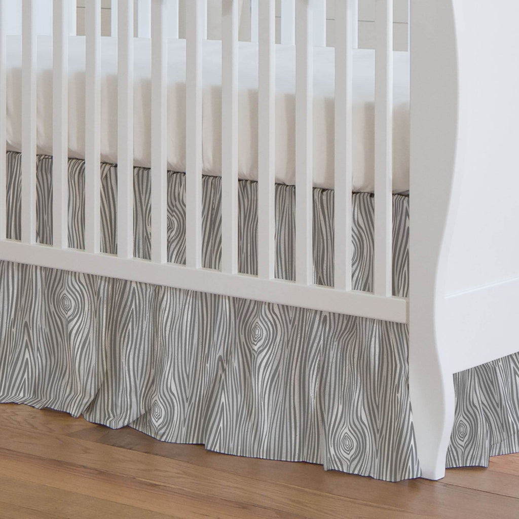 Product image for Gray Woodgrain Crib Skirt Gathered
