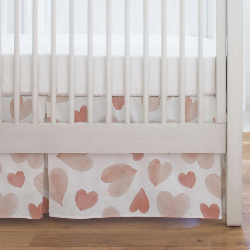 Product image for Peach Watercolor Hearts Crib Skirt Single-Pleat