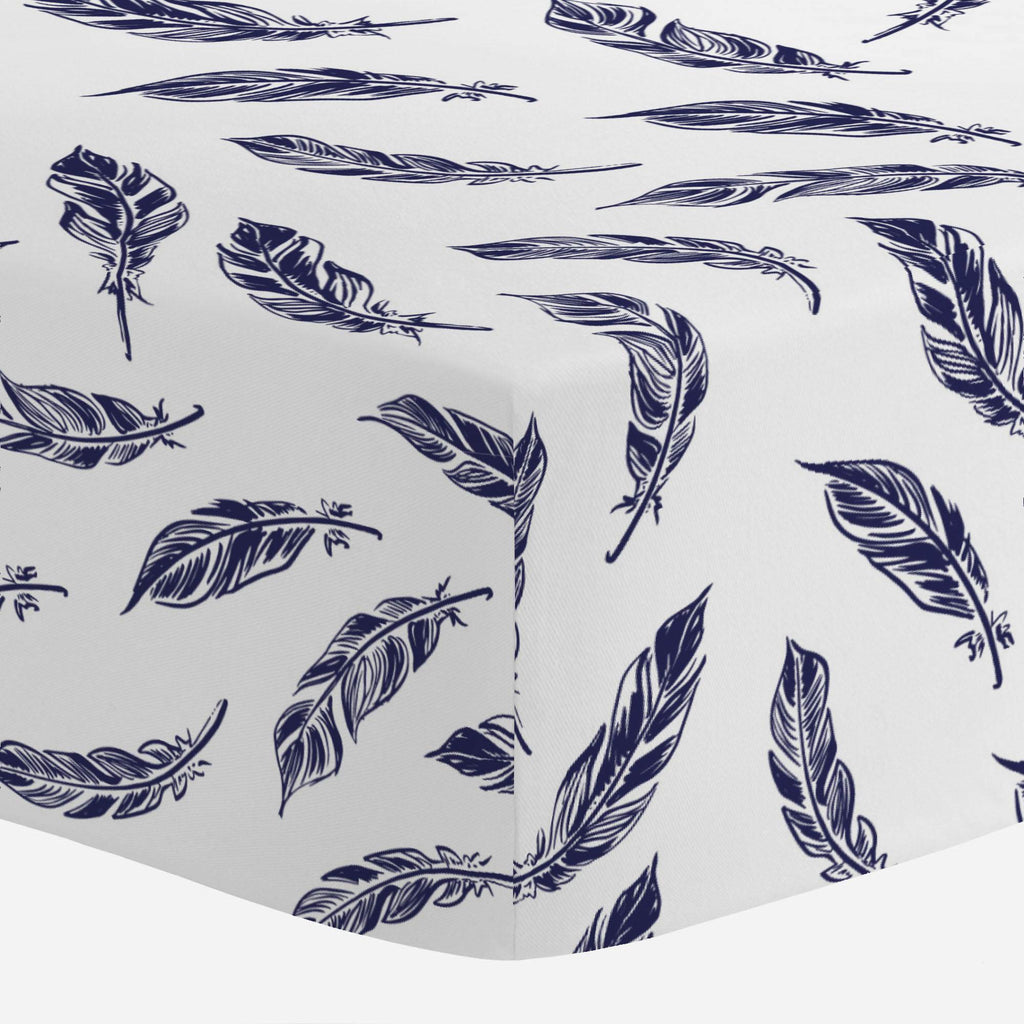 Product image for Navy Hand Drawn Feathers Crib Sheet