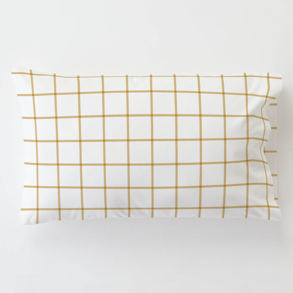 Product image for Mustard Windowpane Toddler Pillow Case with Pillow Insert