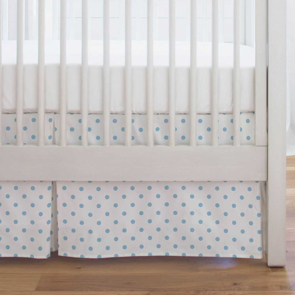 Product image for White and Lake Blue Dot Crib Skirt Single-Pleat