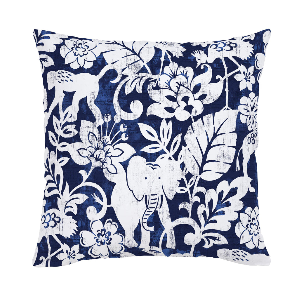 Product image for Navy and White Jungle Throw Pillow