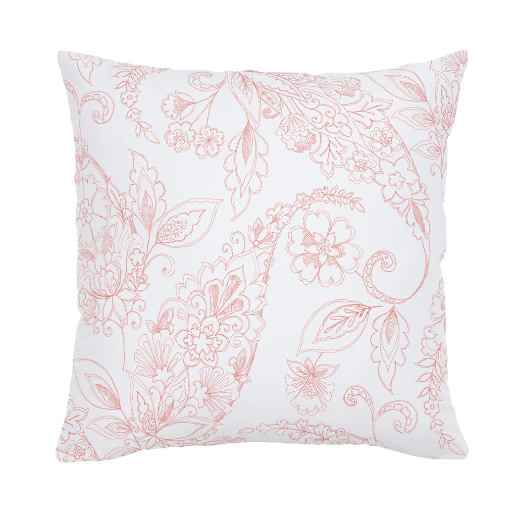 Product image for Light Coral Sketchbook Floral Throw Pillow