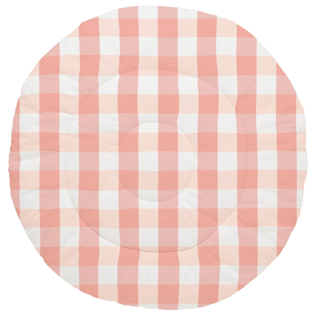 Product image for Light Coral and Peach Buffalo Check Baby Play Mat