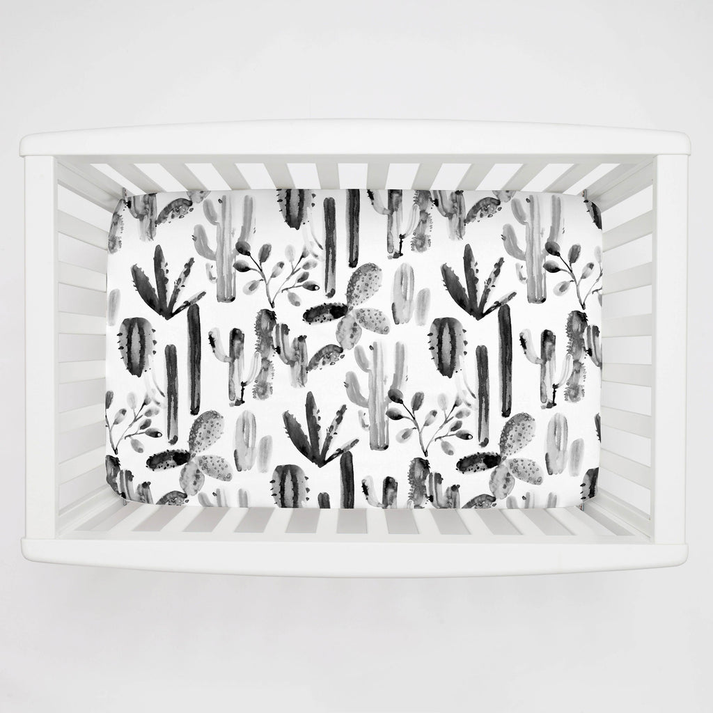 Product image for Charcoal Painted Cactus Mini Crib Sheet