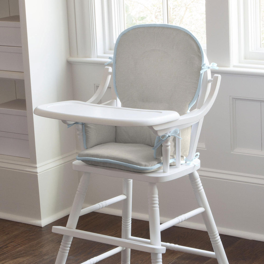 Product image for Light Blue and Flax Linen High Chair Pad