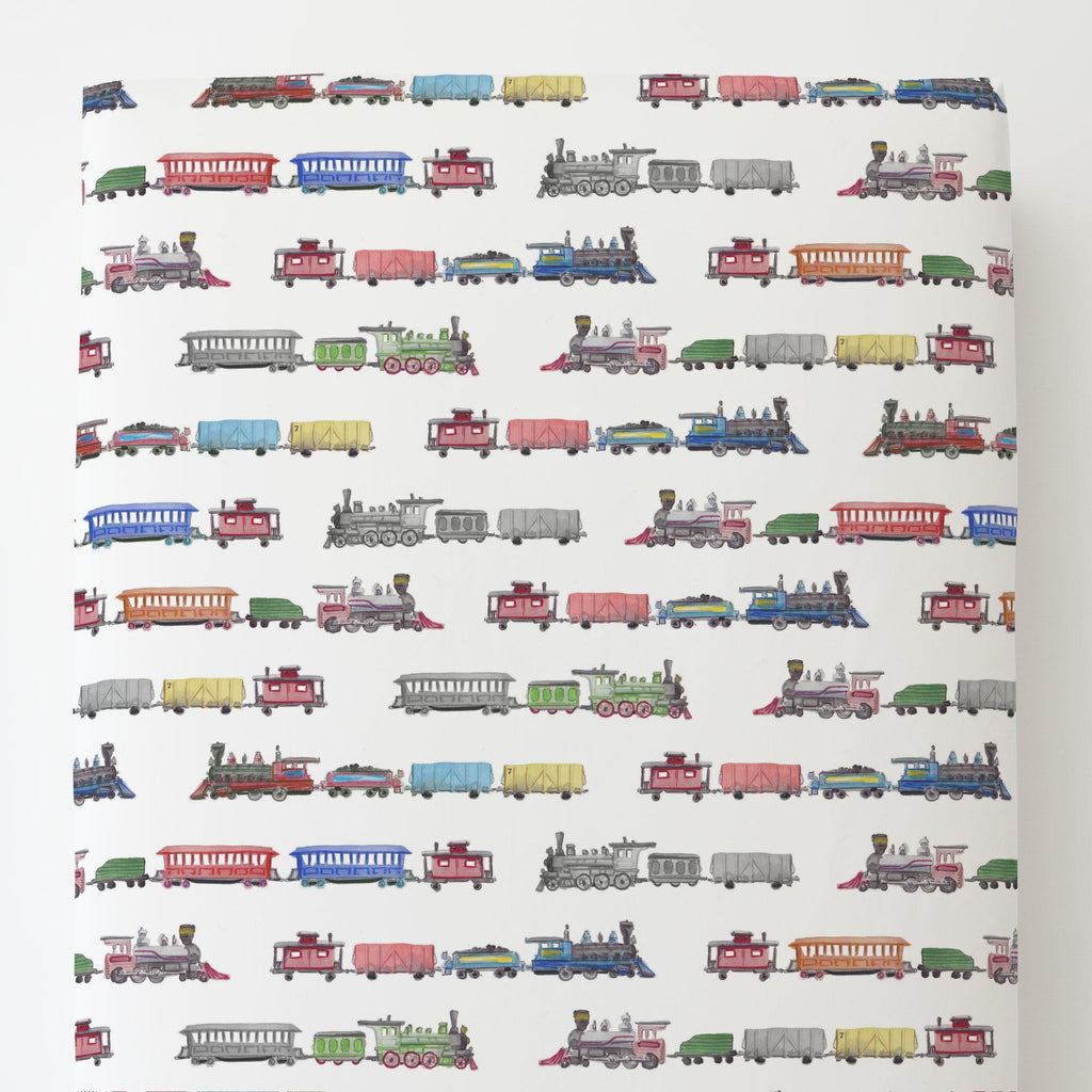 Product image for Watercolor Trains Toddler Sheet Bottom Fitted