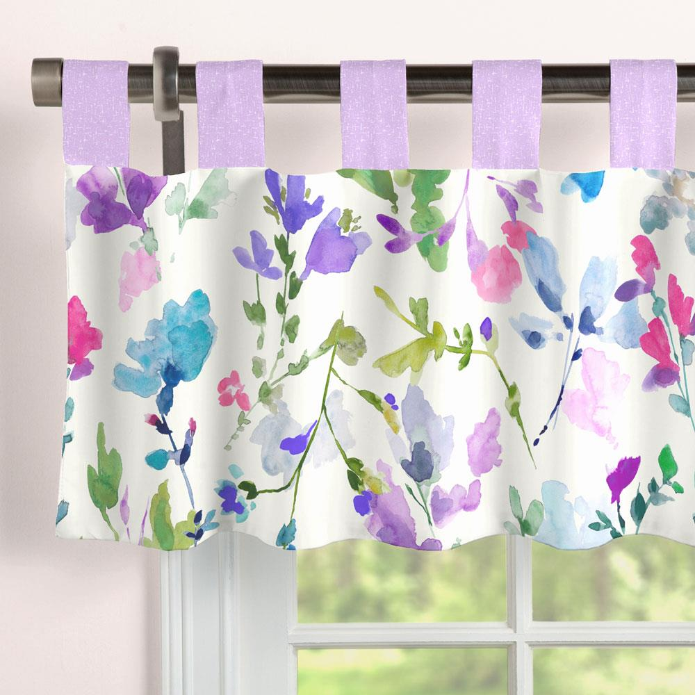 Product image for Bright Wildflower Window Valance Tab-Top