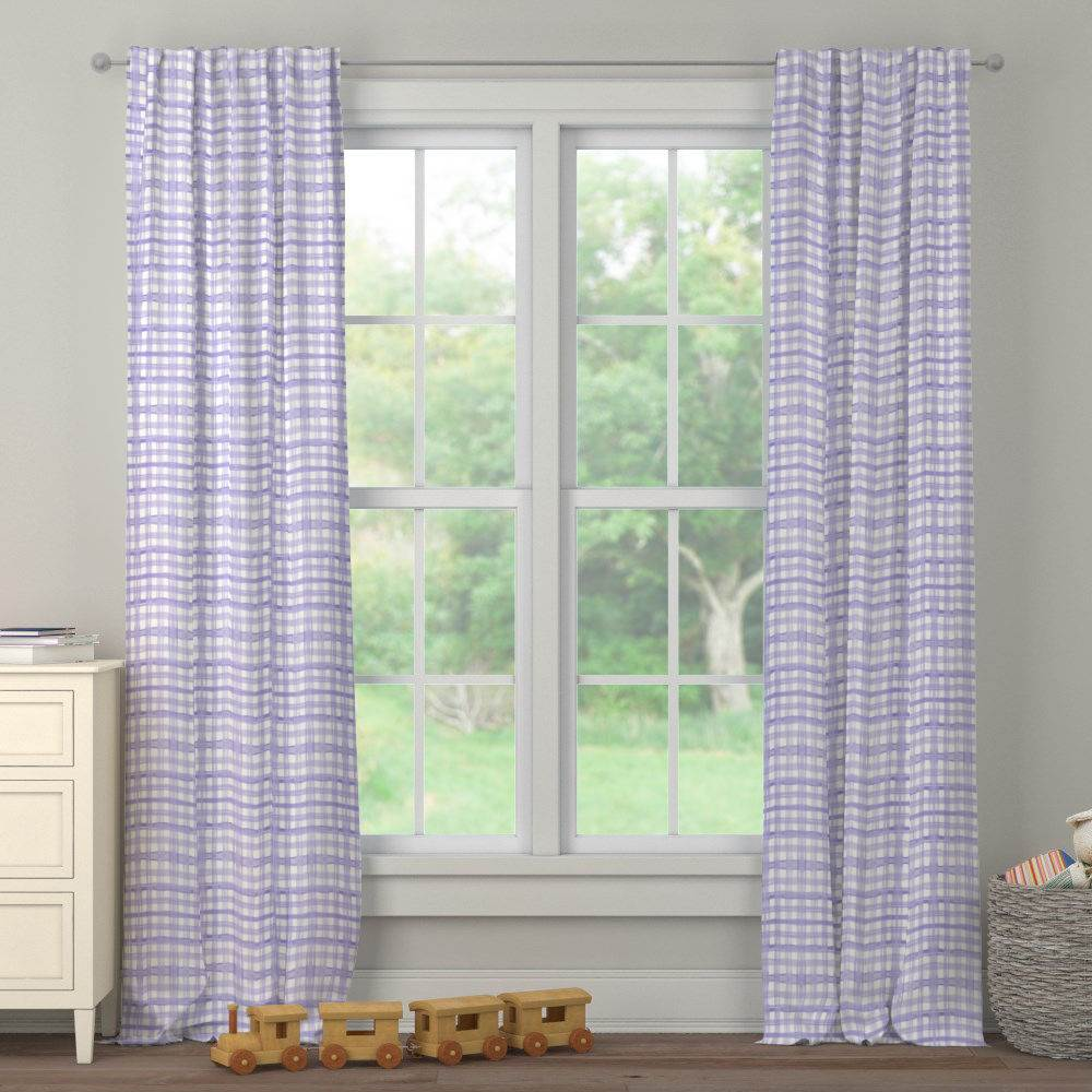 Product image for Lilac Watercolor Plaid Drape Panel