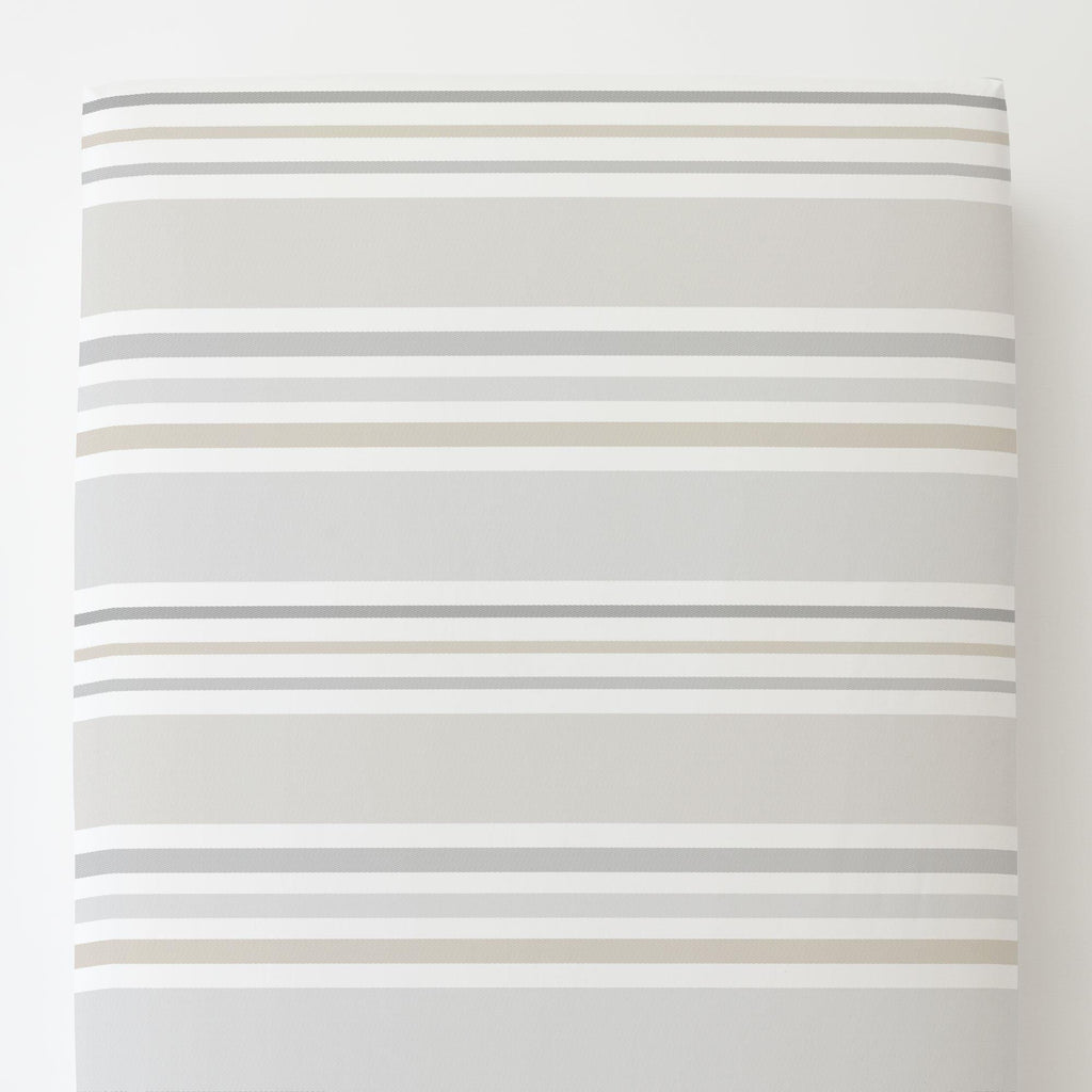 Product image for French Gray and Taupe Summer Stripe Toddler Sheet Bottom Fitted