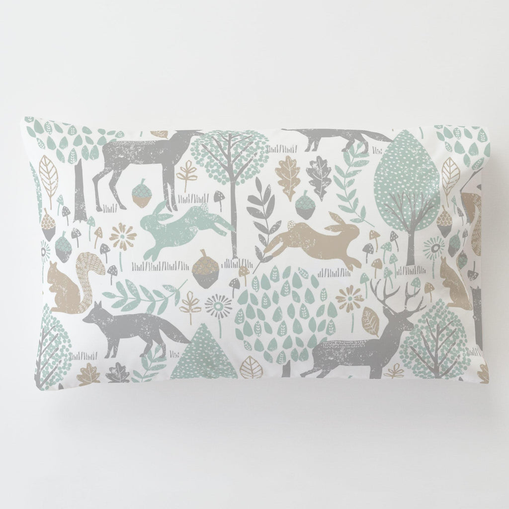 Product image for Gray and Taupe Woodland Animals Toddler Pillow Case with Pillow Insert