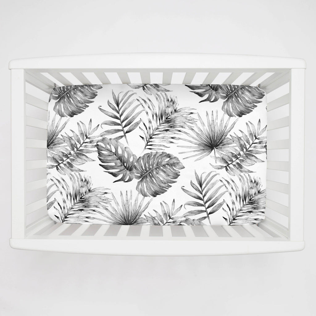 Product image for Gray Painted Tropical Mini Crib Sheet