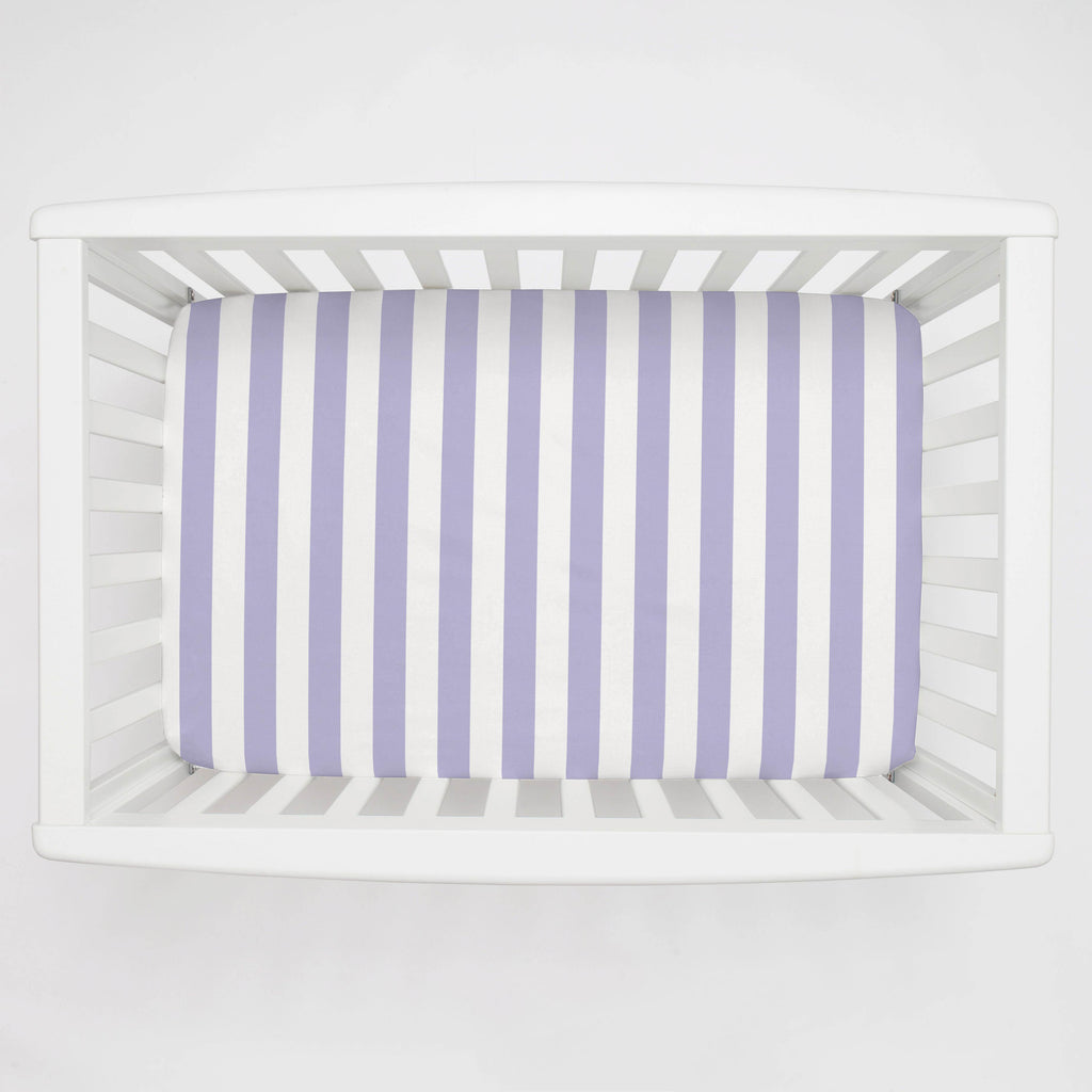 Product image for Lilac Stripe Mini Crib Sheet
