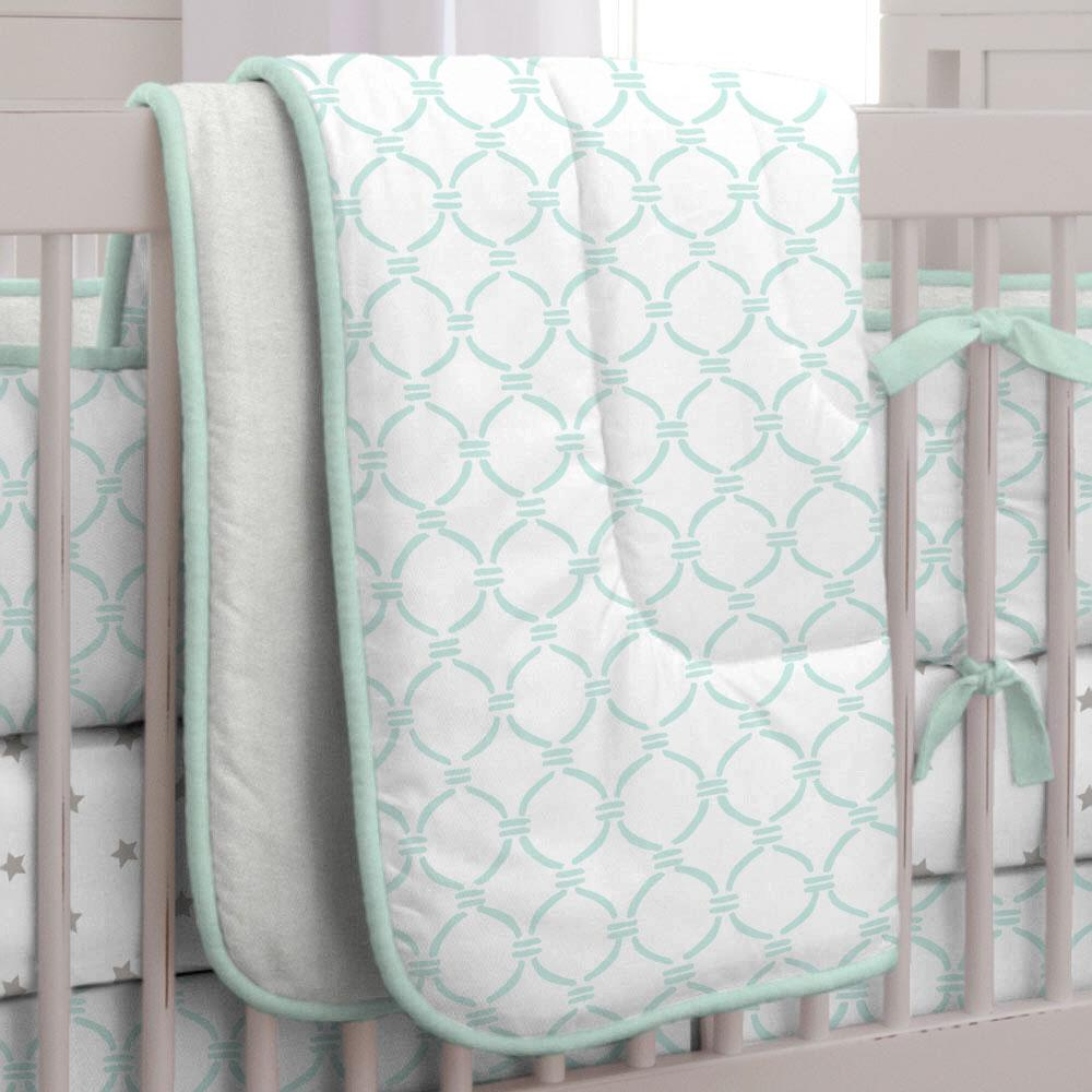 Product image for Mint Lattice Circles Crib Comforter with Piping