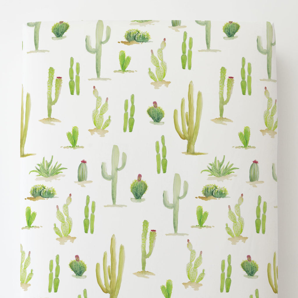 Product image for Watercolor Cactus Toddler Sheet Bottom Fitted