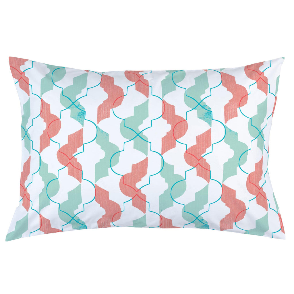 Product image for Coral and Teal Modern Quatrefoil Pillow Case