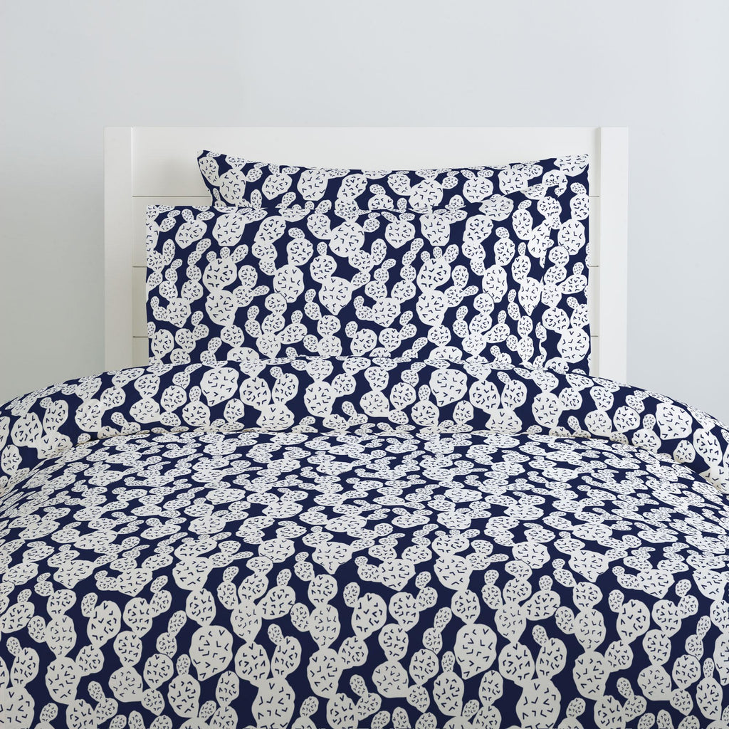 Product image for Navy Prickly Pear Duvet Cover