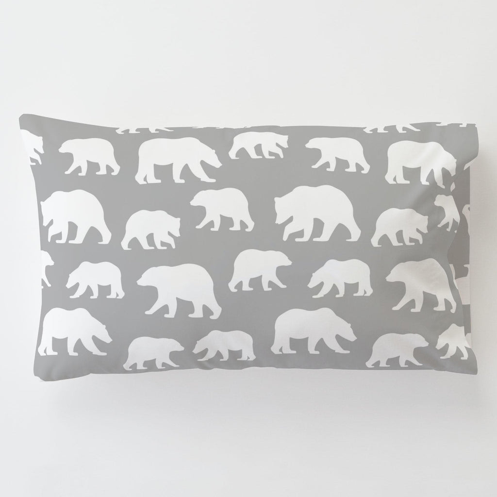 Product image for Silver Gray and White Bears Toddler Pillow Case with Pillow Insert