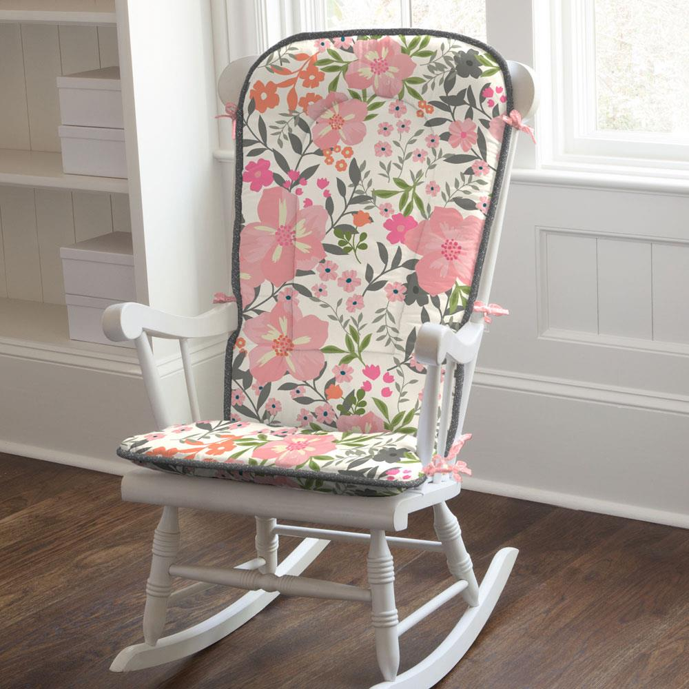 Product image for Pink and Orange Floral Tropic Rocking Chair Pad
