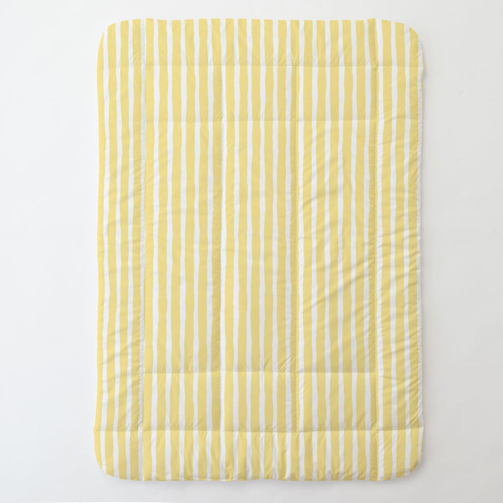 Product image for Banana Yellow Weathered Stripe Toddler Comforter