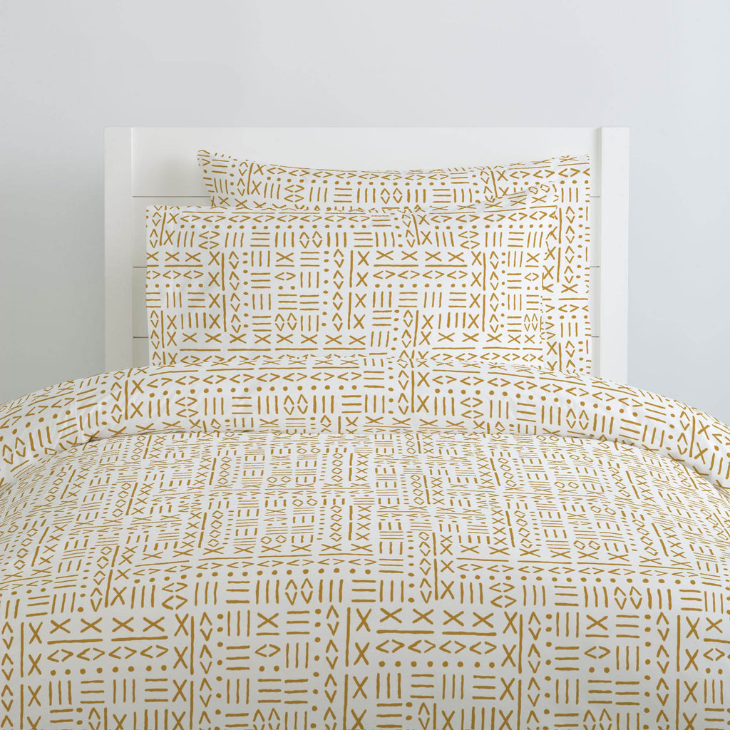 Product image for Mustard Mudcloth Duvet Cover