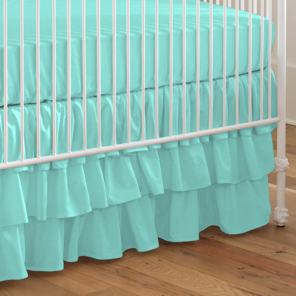Product image for Solid Teal Crib Skirt 3-Tiered