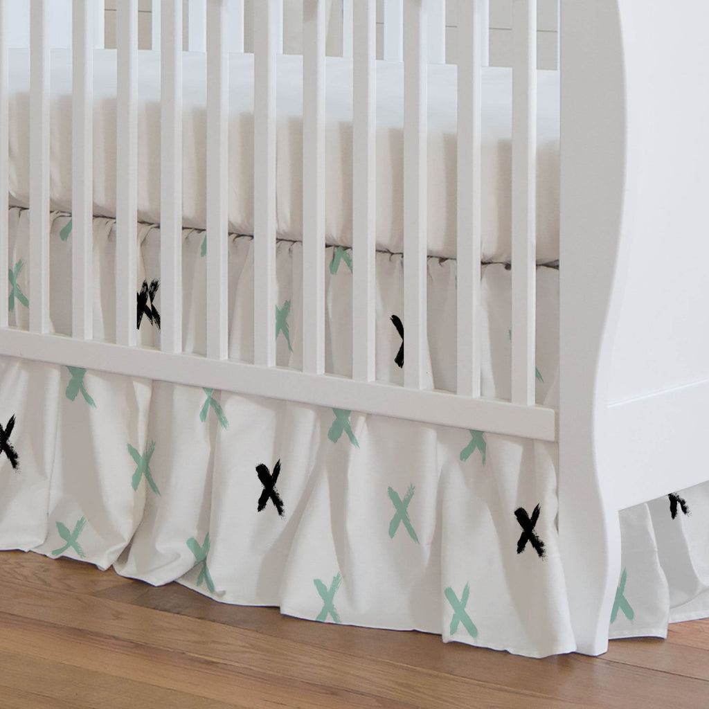Product image for Mint and Onyx Brush X Crib Skirt Gathered