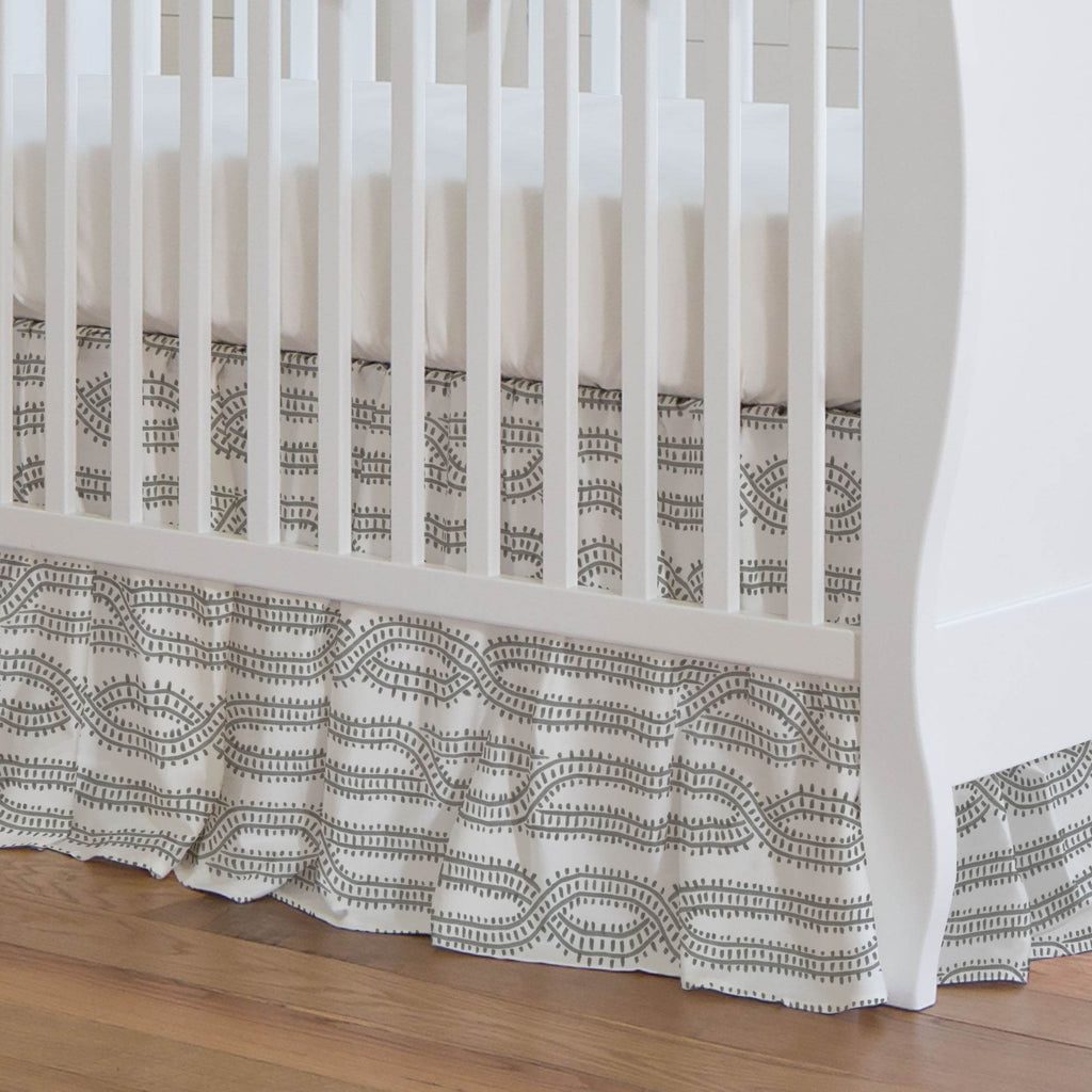 Product image for Gray Train Tracks Crib Skirt Gathered