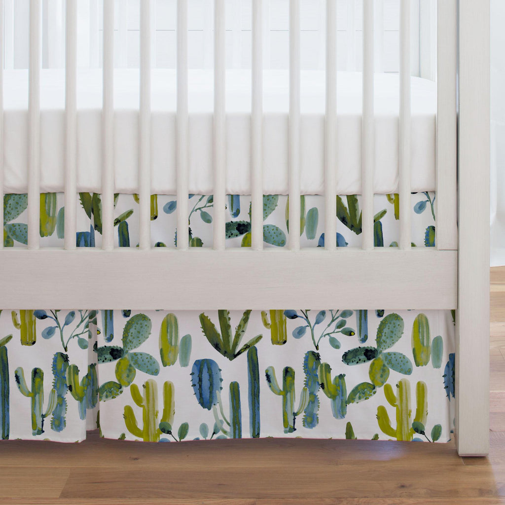 Product image for Blue Painted Cactus Crib Skirt Single-Pleat