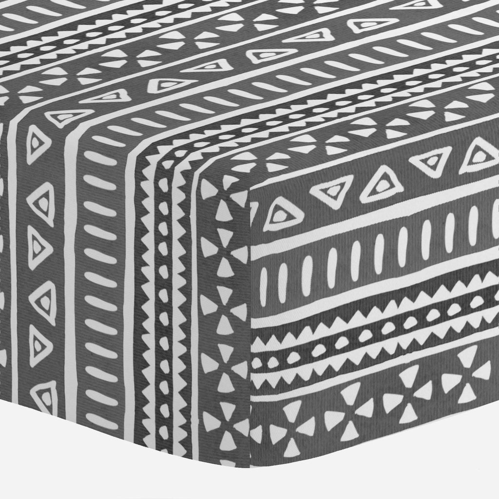 Product image for Gray Watercolor Tribal Crib Sheet
