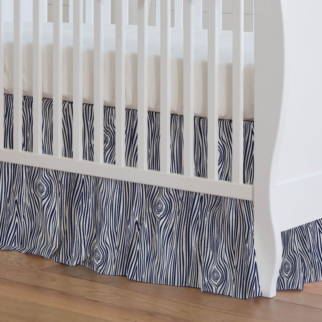 Product image for Navy Woodgrain Crib Skirt Gathered