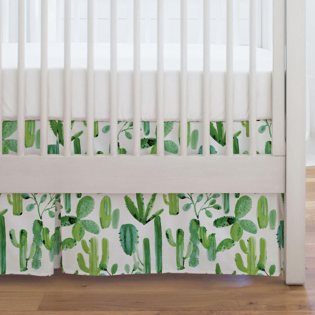 Product image for Green Painted Cactus Crib Skirt Single-Pleat
