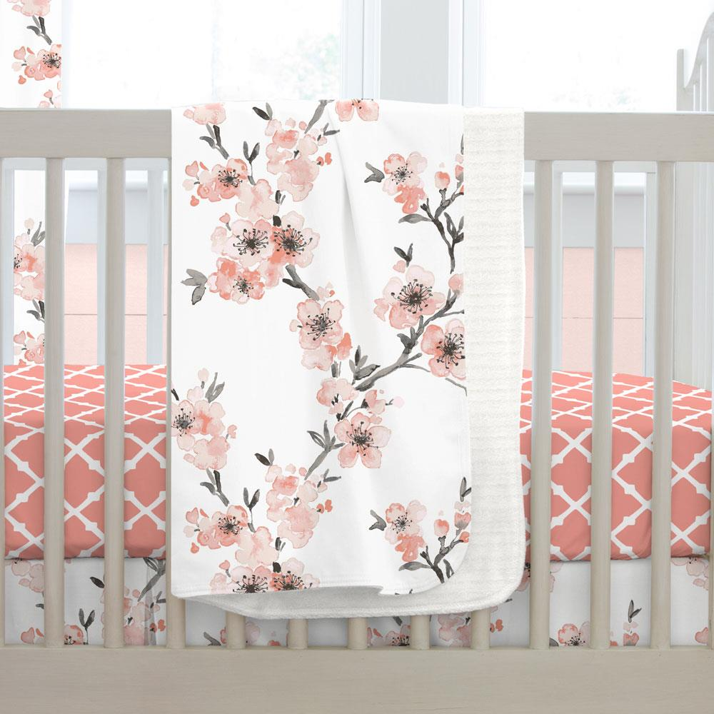 Product image for Light Coral Cherry Blossom Baby Blanket