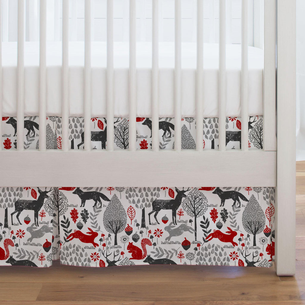 Product image for Red and Gray Woodland Animals Crib Skirt Single-Pleat