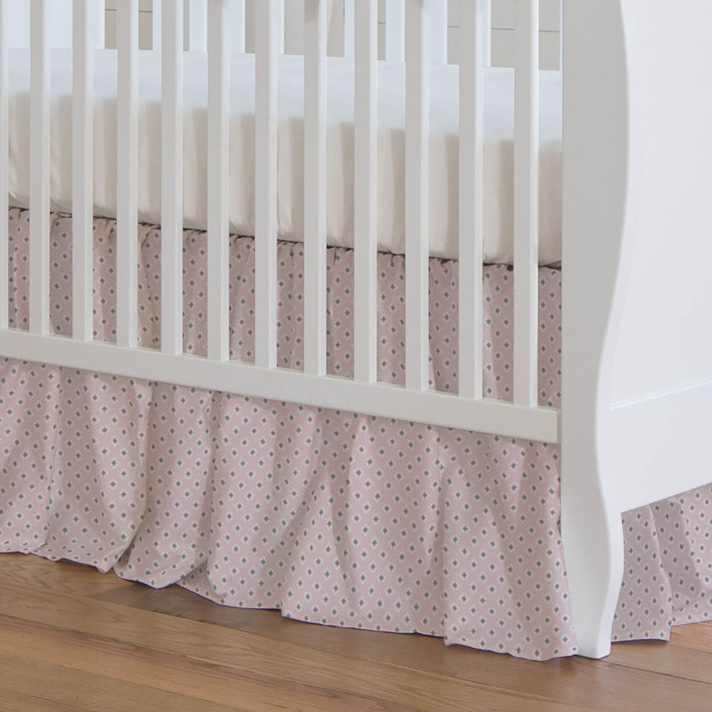 Product image for Pink and Gray Diamond Crib Skirt Gathered