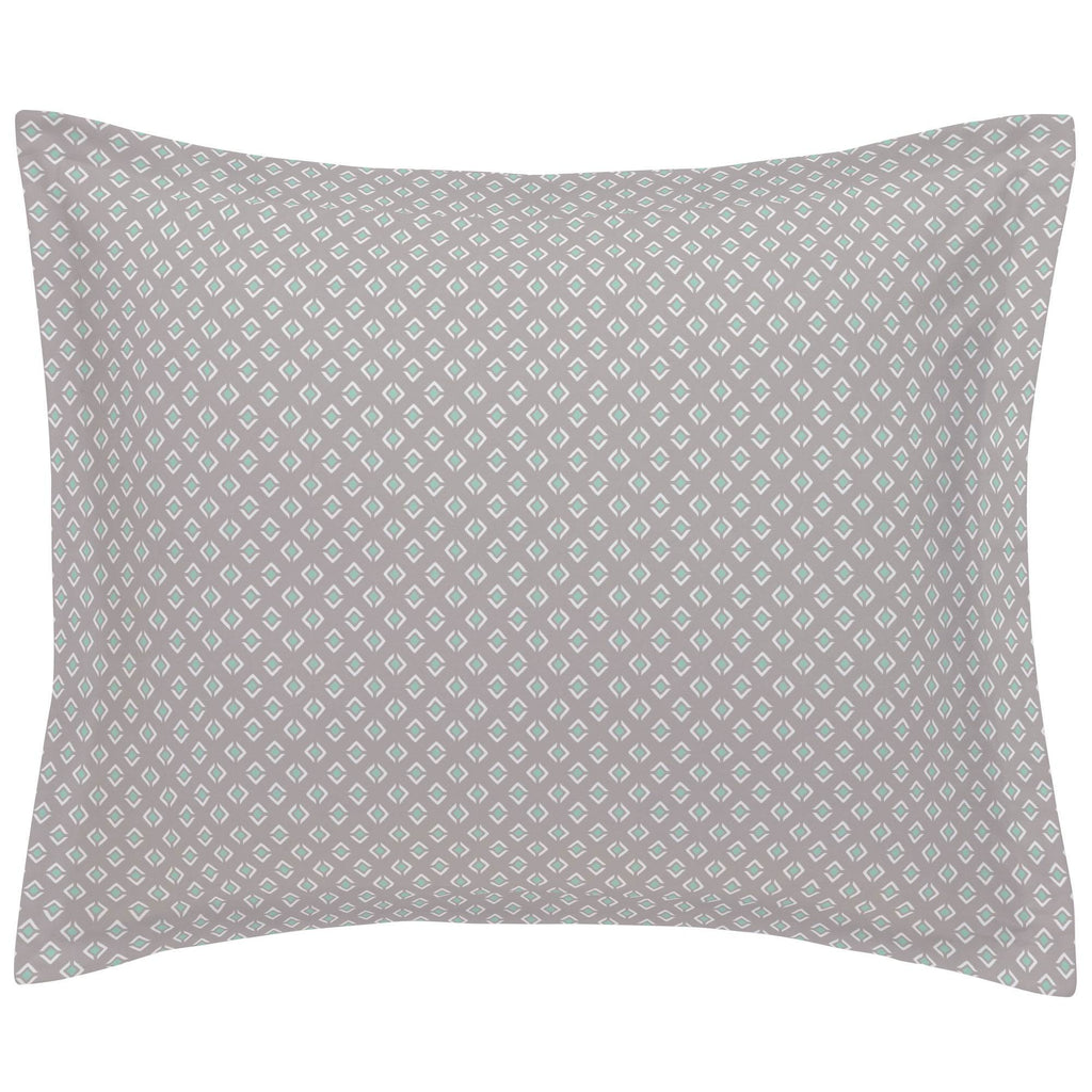 Product image for Taupe and Mint Diamond Pillow Sham