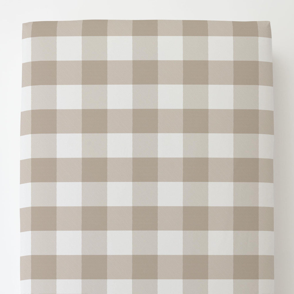 Product image for Taupe and White Buffalo Check Toddler Sheet Bottom Fitted